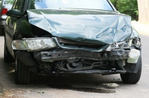 Front part of a crashed car wreck